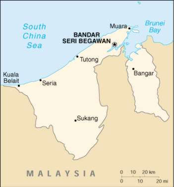 political map of brunei. Map Of Brunei